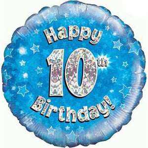 Happy 10th Birthday Blue Holographic Foil Balloon