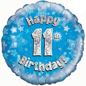 Happy 11th Birthday Blue Holographic Foil Balloon