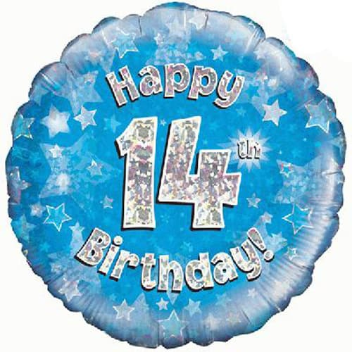 Happy 14th Birthday Blue Holographic Foil Balloon
