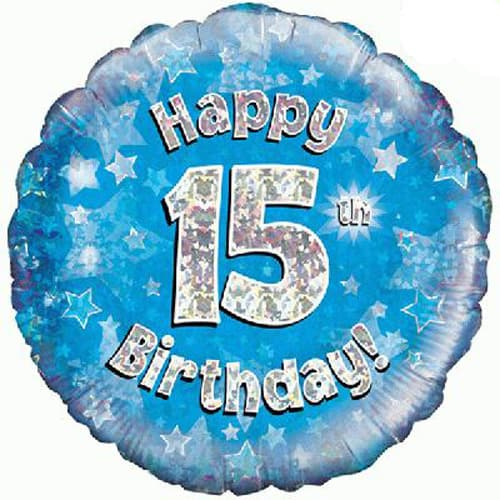 Happy 15th Birthday Blue Holographic Foil Balloon