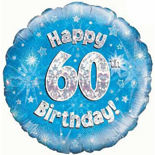 Happy 60th Birthday Blue Holographic Foil Balloon