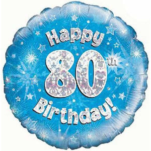 Happy 80th Birthday Blue Holographic Foil Balloon
