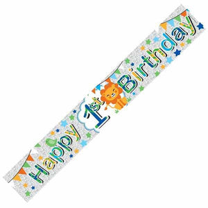 Happy 1st Birthday Male Banners - mypartymonsterstore