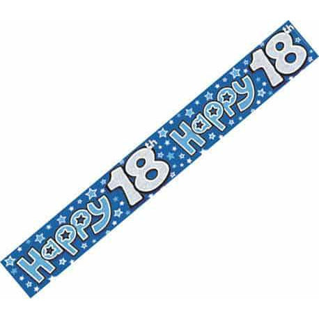 Happy 18th Blue Holographic Banners