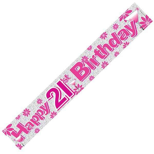 Happy 21st Birthday Pink Banners