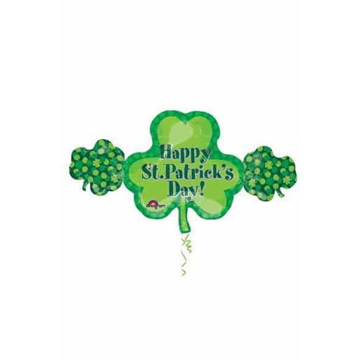 Happy St Patricks Day Shamrock Trio Shaped Balloon