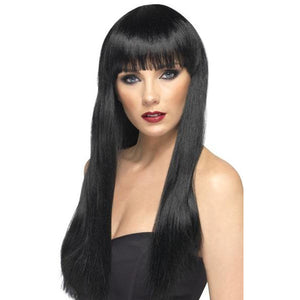 Long Black Beauty Wigs With Fringe - mypartymonsterstore