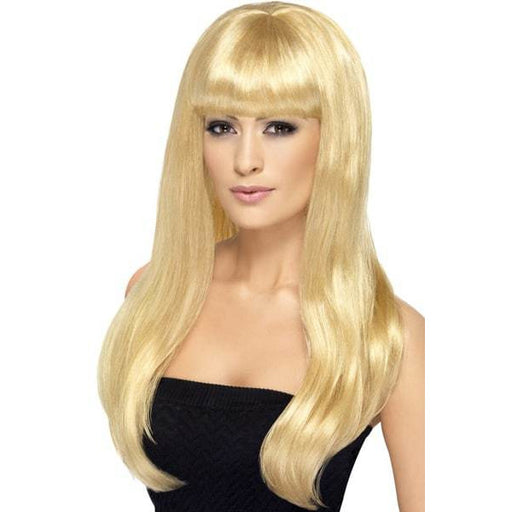 Long Blonde Straight Wigs With Fringe