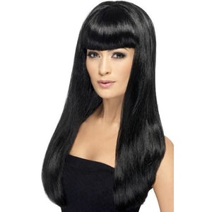 Long Black Straight Wigs With Fringe - mypartymonsterstore