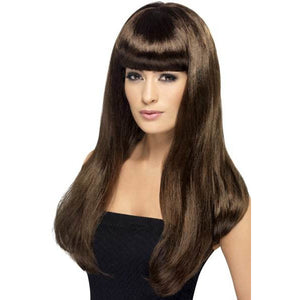 Long Brown Straight Wigs With Fringe - mypartymonsterstore