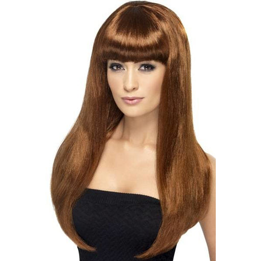 Long Auburn Straight Wigs With Fringe