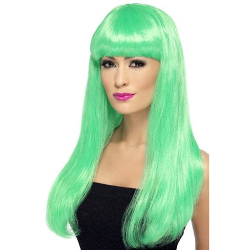 Long Green Straight Wigs With Fringe