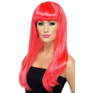 Long Neon Pink Straight Wigs With Fringe - mypartymonsterstore