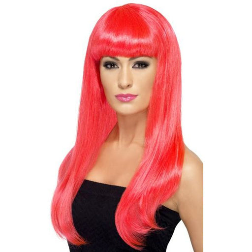 Long Neon Pink Straight Wigs With Fringe