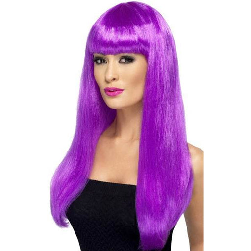 Long Purple Straight Wigs With Fringe