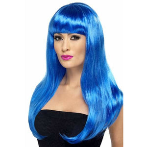Long Blue Straight Wigs With Fringe - mypartymonsterstore