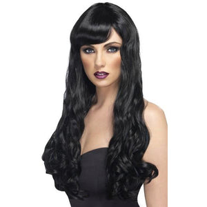 Long Black Curly Wigs With Fringe - mypartymonsterstore