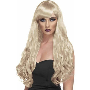 Long Blonde Curly Wigs With Fringe - mypartymonsterstore