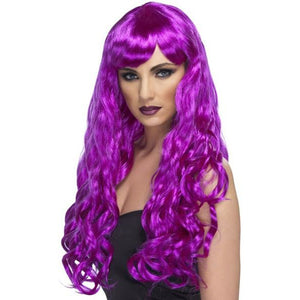 Long Purple Curly Wigs With Fringe