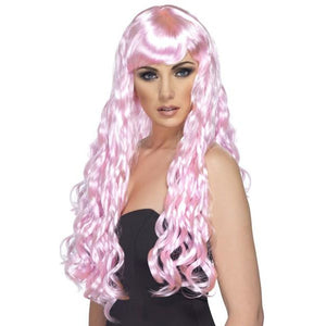 Long Pink Curly Wigs With Fringe - mypartymonsterstore