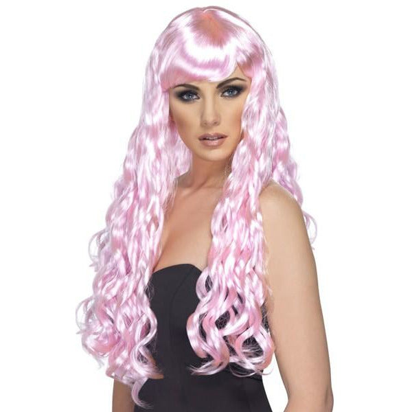 Long Pink Curly Wigs With Fringe