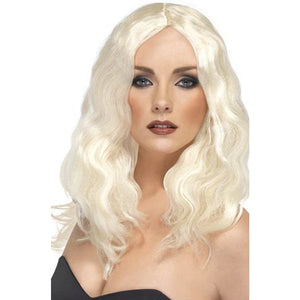 Ladies Blonde Bombshell Superstar Wigs With Skin Parting - mypartymonsterstore