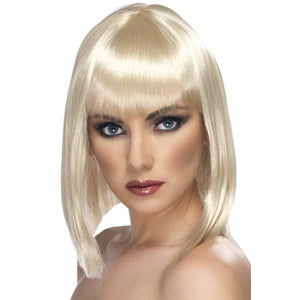 Ladies Blonde Glam Wigs With Fringe