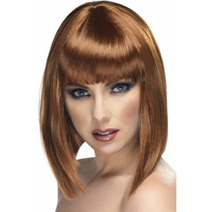 Ladies Brown Glam Wigs With Fringe