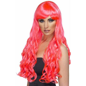 Long Fuchsia Pink Curly Wigs With Fringe - mypartymonsterstore