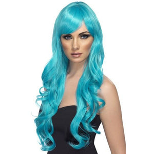 Long Aqua Curly Wigs With Fringe - mypartymonsterstore