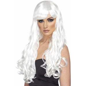 Long White Curly Wigs With Fringe - mypartymonsterstore