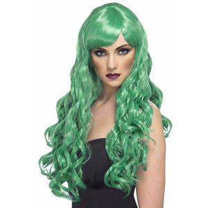 Long Green Curly Wigs With Fringe - mypartymonsterstore