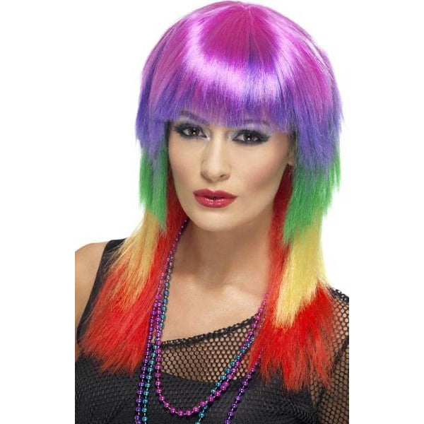 Rainbow Rocker Ladies Wigs With Fringe