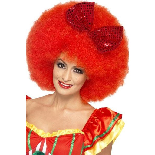 Red Mega Afro Wigs With Bow