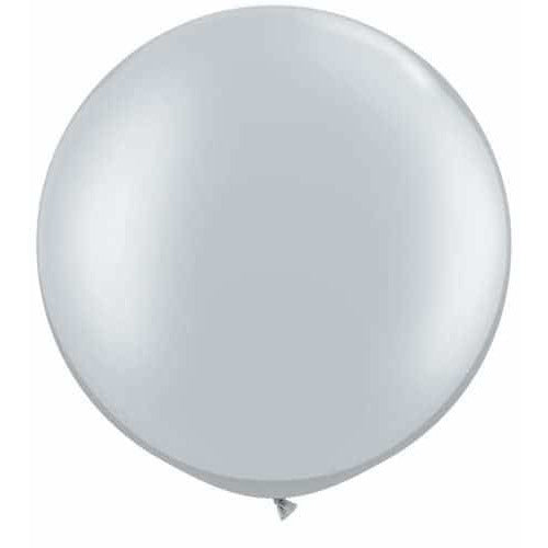 Metallic Silver Giant Latex Balloons x2