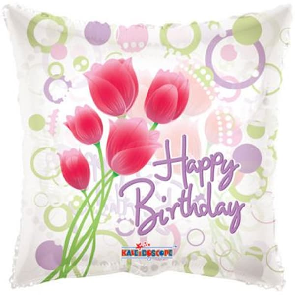Tulips Clear View Happy Birthday Foil Balloons