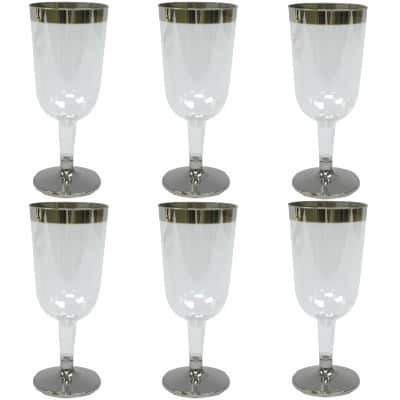 Plastic Wine Glasses With Silver Rim x6