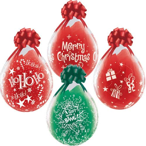 Diamond Clear Christmas Assorted Latex Balloons 25pk