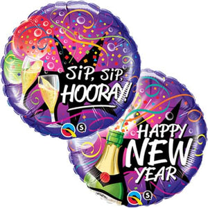 New Year Sip Sip Hooray Foil Balloons - mypartymonsterstore