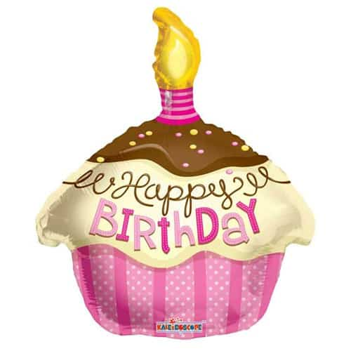 Happy Birthday Pink Cupcake Foil Balloon