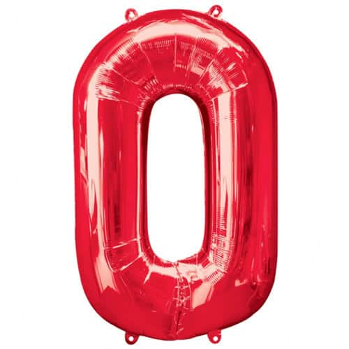 Red Number 0 Foil Balloon