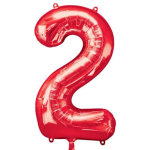 Red Number 2 Foil Balloon - mypartymonsterstore