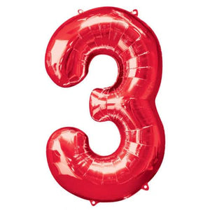 Red Number 3 Foil Balloon - mypartymonsterstore