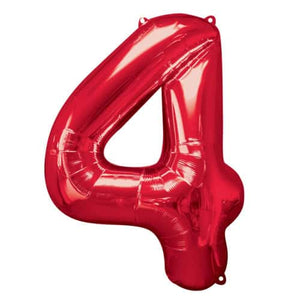 Red Number 4 Foil Balloon - mypartymonsterstore