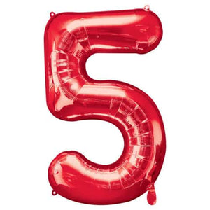 Red Number 5 Foil Balloon - mypartymonsterstore