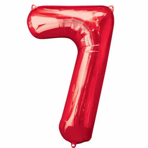 Red Number 7 Foil Balloon - mypartymonsterstore