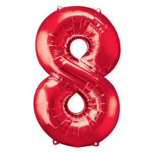Red Number 8 Foil Balloon - mypartymonsterstore