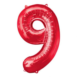 Red Number 9 Foil Balloon - mypartymonsterstore