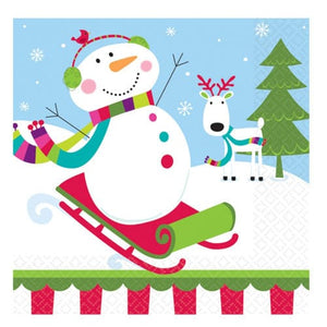 Joyful Snowman Luncheon Napkins x16 - mypartymonsterstore