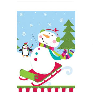 Joyful Snowman Plastic Tablecover x1 - mypartymonsterstore